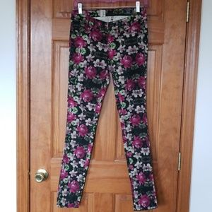 Volcom Pixelated floral skinny jeans